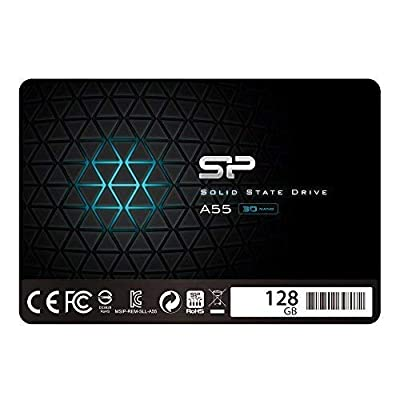 "Silicon Power 128GB SSD 3D NAND A55 SLC Cache Performance Boost SATA III 2.5"" 7mm (0.28"") Internal Solid State Drive (SU128GBSS3A55S25AC) from SP Silicon Power"
