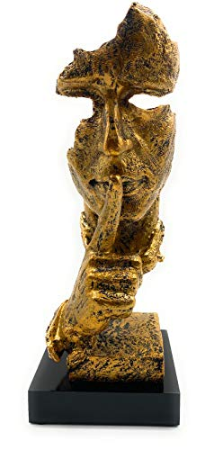 Deko-Figur Schweigen ist Gold wert – Moderne Skulptur in Gold (34cmx13cm) – edle Dekoration ideal für Glas-Vitrine, Regal, Kommode, Deco-Tisch & Fensterbank