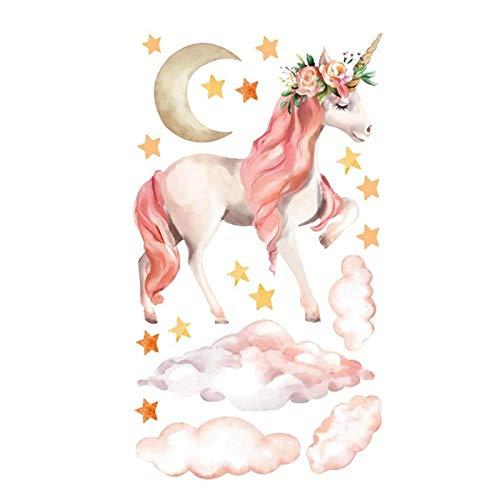 Magic Unicorn Muurstickers, kleurrijke dieren horse sterren zelfklevende PVC-muurschildering geschikt voor slaapkamer, woonkamer, kinderkamer, doe-het-zelf huishoudtextiel
