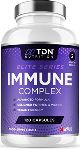 Immune System Support - Premium Immune Supplement - 120 Capsules - 13 Vitamins, Minerals and Herbal Extracts - Vitamin C, Zinc and Selenium - Elderberry, Ginger, Turmeric Plus More - UK Made - Vegan