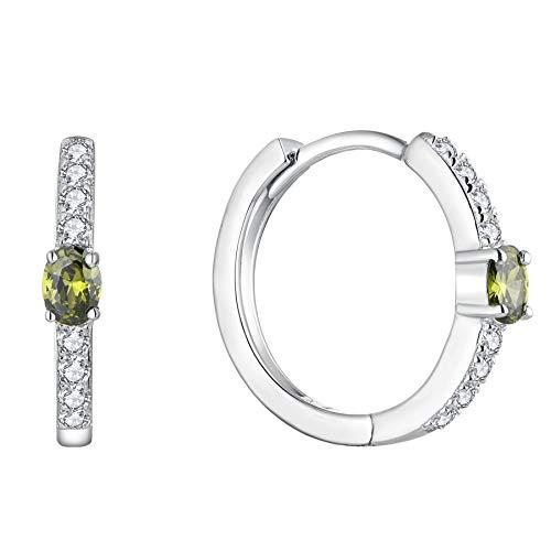 JO WISDOM Creolen Ohrringe Silber 925 Damen mit AAA Zirkonia August Geburtsstein Peridot Farbe