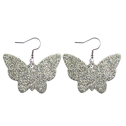Women Girls Party Faux Leather Drop Dangle Earrings Accessory,Butterfly Sequins Special Cute Printing Hanging Earrings for Women Dangle,Fashion