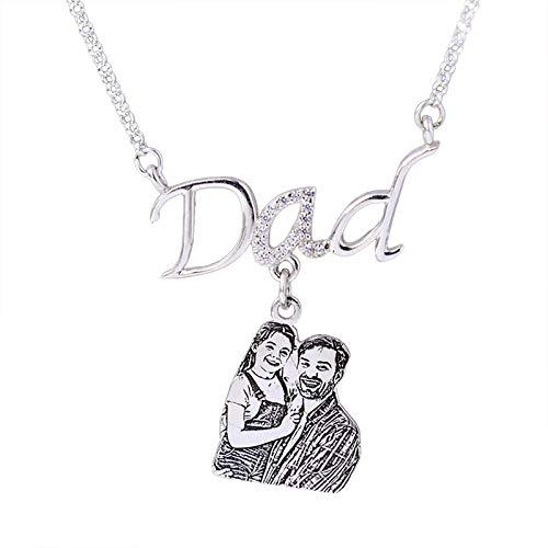 Collar de foto personalizado Collar de papá Collar de tallado de bocetos Collar con colgante de texto personalizado para papá(Plata 18)