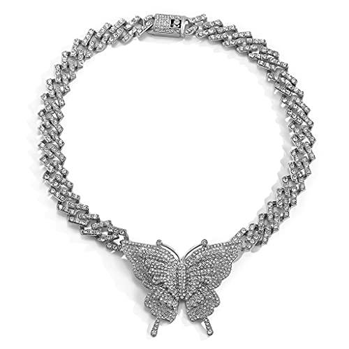MYhose Collar Mujer Niñas Mariposa Amor Animal Cumpleaños Colgante Delicado Collar Gargantilla Cadena de Oro Joyería de Mujer Blanco K