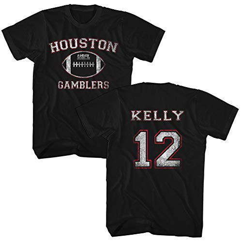 A&E Designs USFL T-Shirt Houston Gamblers Kelly Black Tee Front & Back, Large