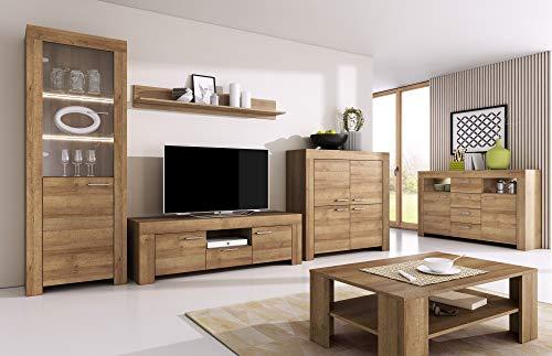 Furniture24 Wohnzimmer Set Wohnwand Sky Tv Schrank Vitrine Hängeregal Kommode Sideboard Couchtisch (Riviera Eiche)