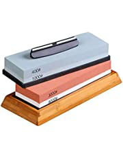 Decdeal Slijpsteen 4 zijden korrel 400/1000, 3000/8000 4-in-1 slijpsteen wetsteen met antislip bamboevoet en hoekgeleiding