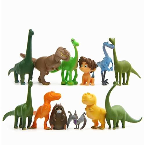 12 unids/lote 3 a 7 cm Las figuras de dinosaurios Juego conjunto Arlo Cliff Forrest Ivy Action Figuras Doll Decoration Kids Good regalos Cumpleaños