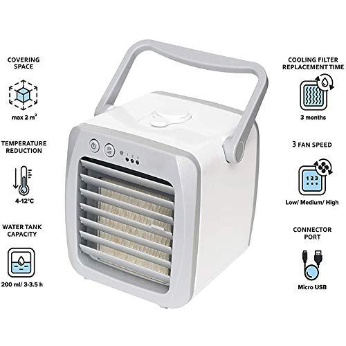 Luftkühler & Luftbefeuchter - Leise & tragbar – Kühler für Heim, Büro, Camping, auf Reisen – USB-Anschluss für einfaches Verbinden & integriertes - grau