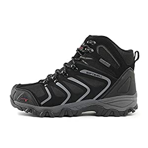 NORTIV 8 Men's 160448 Black Grey Ankle High Waterproof Hiking Boots Outdoor Lightweight Shoes Trekking Trails Size 11 M US