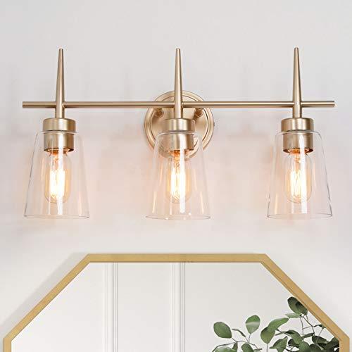 Bathroom Light Fixtures, 3-Light Bathroom Vanity Light, Gold Bathroom Light Fixtures with Clear Glass Shades for Makeup Dressing Table (20'' L x 6'' W x 11.5'' H)
