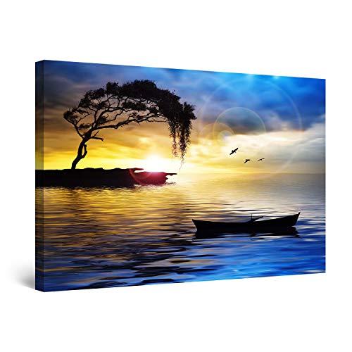 Startonight Impression sur Toile Peinture Paysage Bleu Arbre, Bateau et Mer, Tableau Abstrait - Decoration Murale Salon Moderne - Image sur Toile - 80 x 120 cm