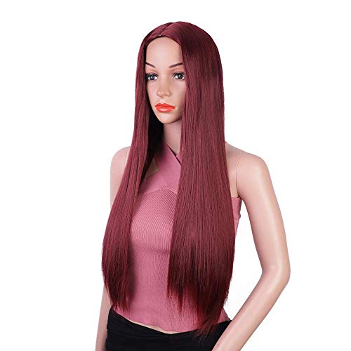 GAOFQ Wine Red Wig for Women, 26in Straight Long Wig, For Daily wear and Party Halloween use