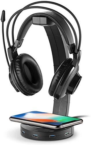 azorex Soporte para Auriculares Gaming RGB con Cargador Inalámbrico Cargador Rápido 10W y Puertos USB 3.0 Soporte Casco Universal Mesa para Escritorio PC Gaming Video Juegos