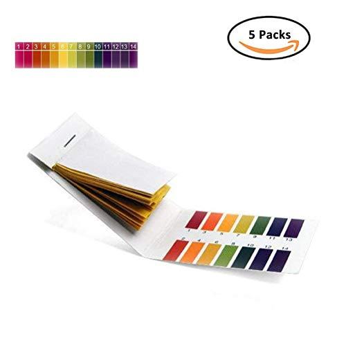 Lackmuspapier mit einem pH-Wert-Bereich 1-14, 5 Packungen mit 400 Streifen