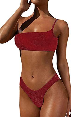 JFAN Costume da Bagno Donna Sexy Triangolo Bikini Push Up Strass Bling Glitterato Due Pezzi Una Spalla Costumi da Bagno Lucente