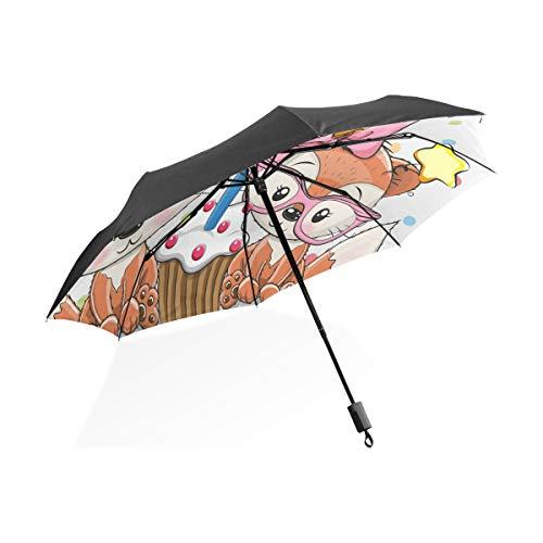 XiangHeFu Paraplu Baby Fox Verjaardagstaart 3 Vouwen Lichtgewicht Anti-UV