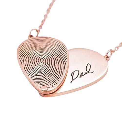 Adjustable Heart Necklace Fingerprint Necklace Handwriting Necklace Memorial Fingerprint Jewelry Grandma Necklace Mom Gift