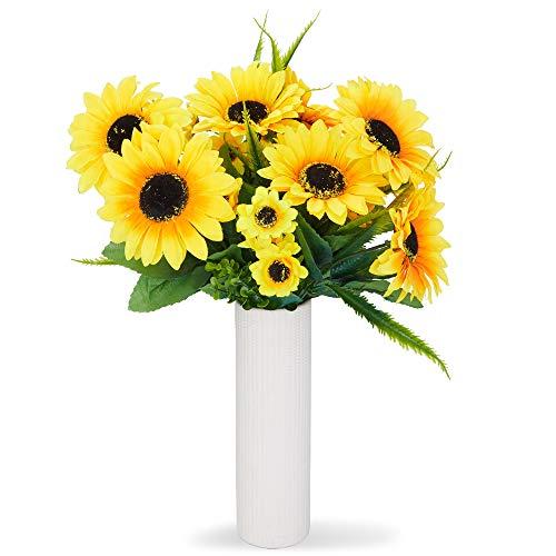 Juvale Ramos de girasol artificiales, flores amarillas falsas para decoración del hogar (2 ramos)