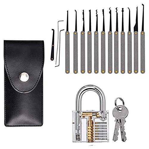 Lock Pick Set, 15-teiliges Lock Pick Kit + Transparente Übungs-Vorhängeschlösser, professioneller Extractor Werkzeug für Anfänger