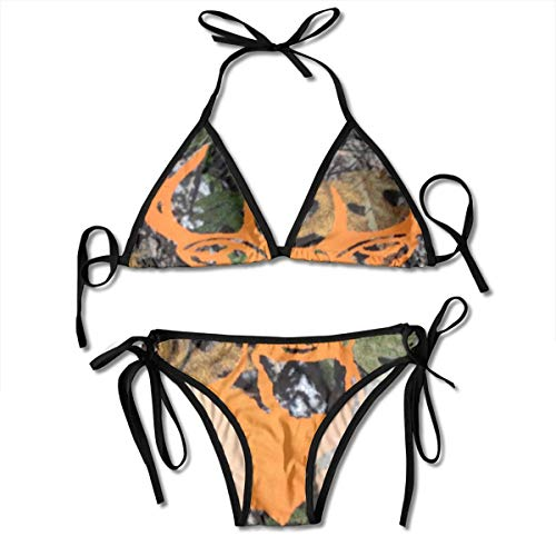 NHJM Orange Deer Realtree Camouflage Women's Bikini Set,Sexy Beach Bathing Swimsuit,Padded Bikini Print Top Swimwear