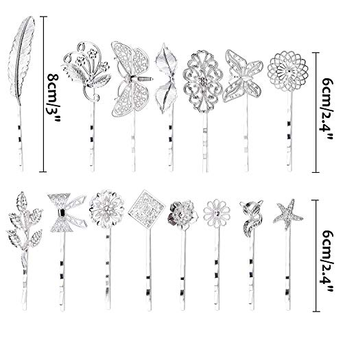 inSowni 30 Pack/15 Pairs Silver Retro Vintage Metal Bobby Pins Hair Clips Barrettes Accessories Leaf Bow Flower Butterfly for Women Girls