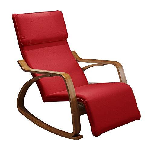 Bseack Fauteuil à bascule, réglable en tissu amovible Couverture Shake The Nature Deck en bois massif jardin Loisirs/déjeuner Pause Chaise (Couleur : Rouge)