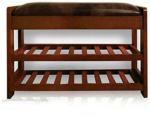 Massief houten schoenenbank, eenvoudige schoenenkast, woonkamerschoenen, kruk, schoenenrek met veranda, eenvoudige slaapbank, kruk (kleur: C) B