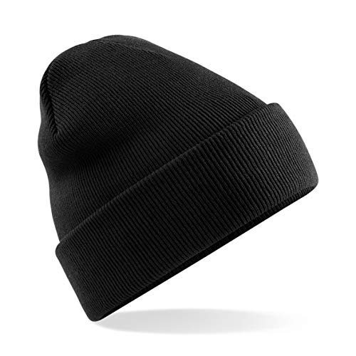 MKR Beanie Hat Men's Women's Unisex Warm Soft Knit Cuffed Winter Hat - Black