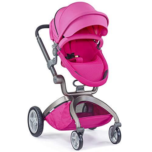 Hotmom Kinderwagen 3 in 1/Komplett/Set mit Babywanne, Buggy mit Sitz und Babyschale rosa (rosa)
