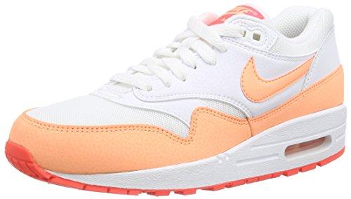 Nike Air MAX 1 Essential - Zapatillas para Mujer, Color White/Sunset Glow-Hot Lava 114, Talla 40