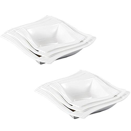 MALACASA, Série Amparo, 6pcs Assiettes à Soupe, Bol à Céréales en Porcelaine, Saladier Combiné Services de Table