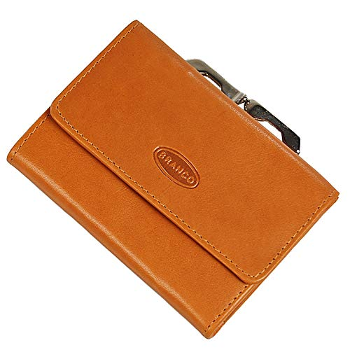 Branco handliche, kleine Leder Damen Geldbörse Portemonnaie Geldbeutel Bügel Börse Knipser Gobago 10,5 x 7,5 cm (Natur)