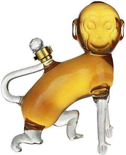 Decantador de whisky Crystal Whisky Decanter Decantador de vinos - Jarrafa de forma de mono con tapón para licor, escocés, bourbon, vodka o decantador de licores, 1000 ml de whisky decantador conjunto