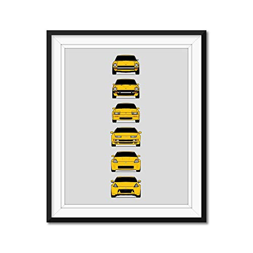Nissan Z Car Generations Inspired Poster Print Wall Art Handmade Decor of the History and Evolution of the Datsun Fairlady Z (240Z 280ZX 300ZX 350Z 370Z)