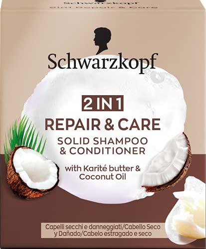 Schwarzkopf - Champú + Acondicionador Sólido 2 en 1 Repair&Care - 60g - Suaviza y cuida la estructura del cabello para un aspecto sano