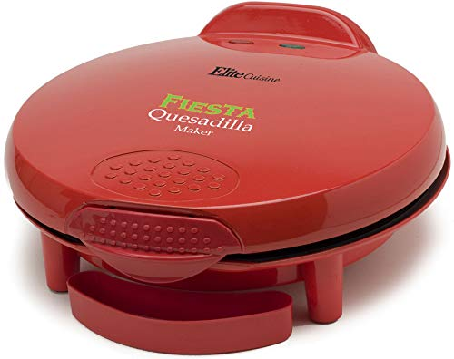 "Elite Cuisine EQD-118 Maxi-Matic 11"" Non-Stick Electric Cheese Mexican Taco Tuesday Quesadilla Maker, Easy-Slice 6-Wedge, Grilled Cheese, Red"