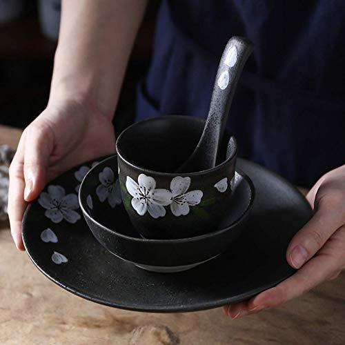 HUAHUA Bowls De estilo japonés tazón Vajilla de 4 piezas Conjunto Negro retro de la placa de ensalada del hogar tazón de sopa Cuchara de postre