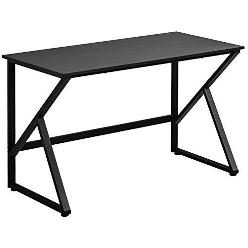 belupai Escritorio para ordenador con patas en forma de K, gran mesa de trabajo para oficina en casa, fácil de montar, 120 x 60 x 75 cm, color negro