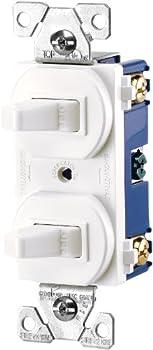 EATON 271W-BOX Arrow Hart 271W Duplex Grounding Toggle Switch 120/277 Vac 15 A 1 Pole White