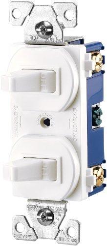 EATON 271W-BOX Arrow Hart 271W Duplex Grounding Toggle Switch, 120/277 Vac, 15 A, 1 Pole, White