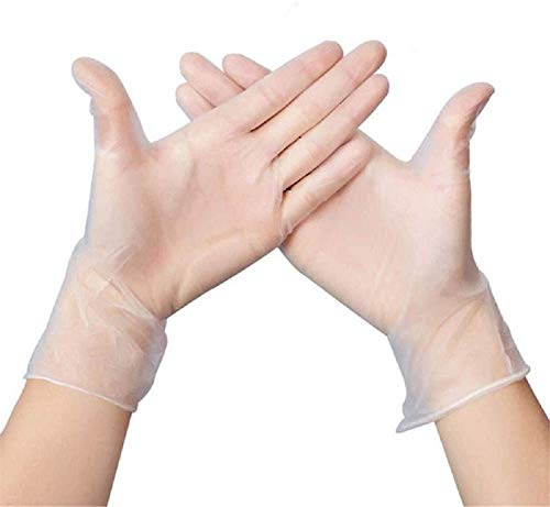 Soluo 2020 100 pcs New Disposable Latex-Free Mitten,Nitrile Cleaning Gl0ves for Kitchen,Industrial, Food Handling (Transparent,X-Large)