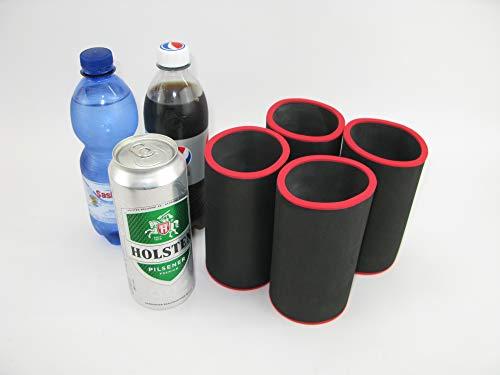 asiahouse24 Nur ohne roten Rand - Uni - 4er Set Schwarz Getränkekühler 0,5l Dosenkühler - Bierkühler - Neoprenkühler für alle genormten 0,5l Bierdosen aus hochwertigen 5-6mm starken Neopren
