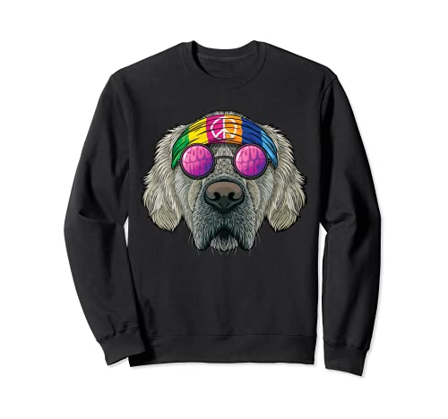 Hippie Golden Retriever Love Peace Sign 70s Hippie Dog Sudadera