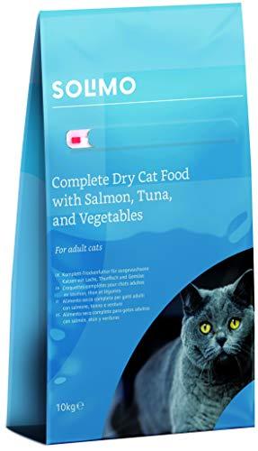 Amazon-Marke: Solimo - Komplett-Trockenfutter für erwachsene Katzen mit Lachs, Thunfisch und Gemüse, 1er Pack (1 x 10 kg)
