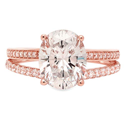 2.04ct Oval Cut Solitaire split shank Best Quality Lab Created White Sapphire Ideal VVS1 & Simulated Diamond Engagement Promise Statement Anniversary Bridal Wedding Ring Solid 14k Rose Gold Size 10.5
