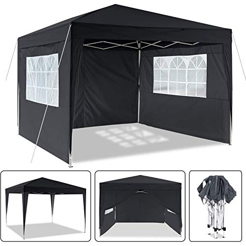LYXCM Gazebo, Heavy Pop-up Pavilion 3 X 3m (9.8 X 9.8ft) Waterproof Garden Pavilion with 4 Side Sections Outdoor Event Shelter for Garden Wedding Parties Seasons Pavilion