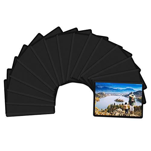 Magnetische Fototaschen, Magiclfy 15 Stück Magnet Bilderrahmen Fotorahmen für Fotos Postkarten von 6.3 x 8.9 cm für Kühlschrank, Schwarz