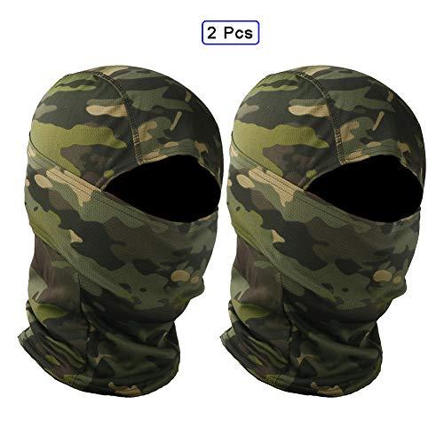 QWET Tactical Face Scarf Mask, Headwear, Bandana, Neck Gaiter, Head Wrap, Headband, Respirable Elástico, Absorbe la Humedad (2 Piezas),C
