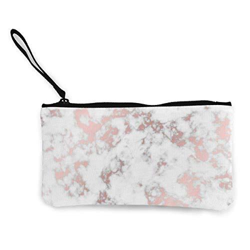 Monedero de lona de oro rosa para mujeres y niñas, diseño de mármol de moda para cambiar dinero en efectivo, bolso pequeño con cremallera, monedero para llavero, dinero y viajes